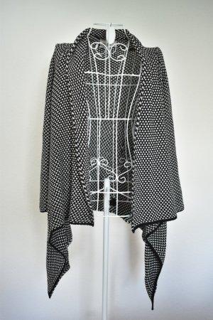 Zara Cardigan noir-blanc tissu mixte