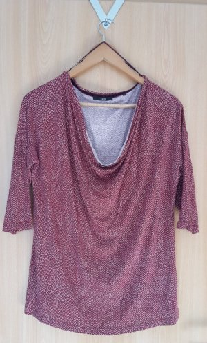 Zero Cowl-Neck Shirt red-white