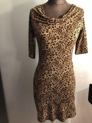 Wasserfall Minikleid Kleid Gr 34 36 XS S Leoparden Muster