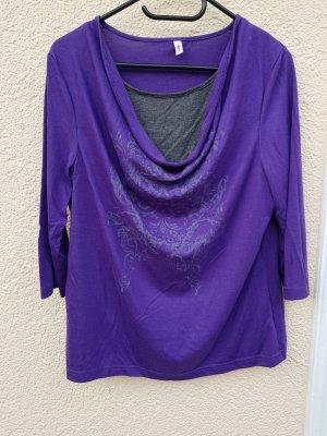 Sheego Camisa con cuello caído gris-violeta azulado