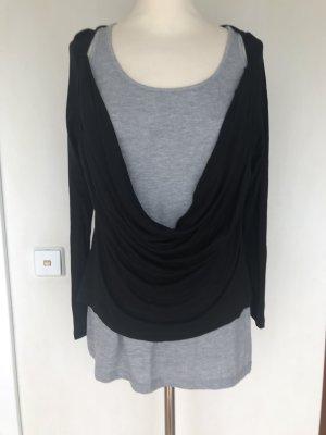 Zabaione Camisa con cuello caído negro-gris claro Viscosa