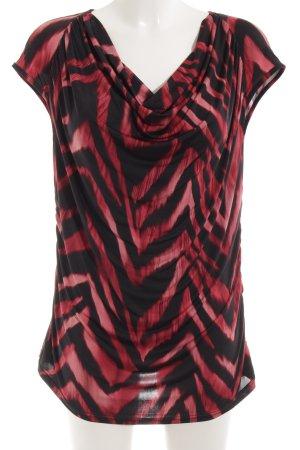 Top collo ad anello nero-rosso scuro motivo animale stile casual