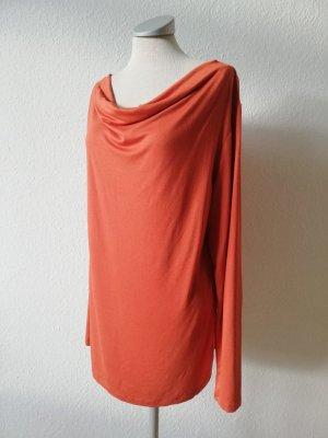 Wasserfalltop Shirt Longshirt rostrot orange Gr. 44 46 neu Herbsttop Oberteil langarm