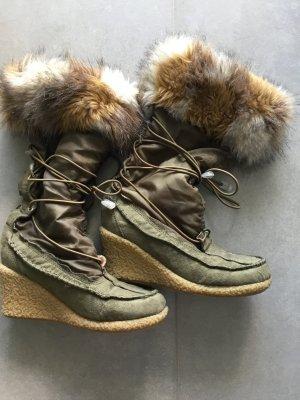 Winter Boots green grey mixture fibre
