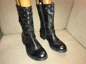 We are Short Boots black-silver-colored leather