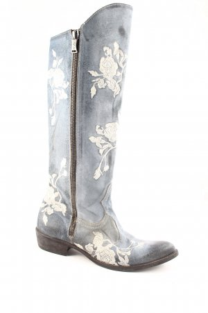 We are Westernstiefel himmelblau-blassblau florales Muster Used-Optik