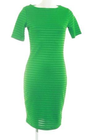 WE Fashion Kurzarmkleid grün Streifenmuster Elegant