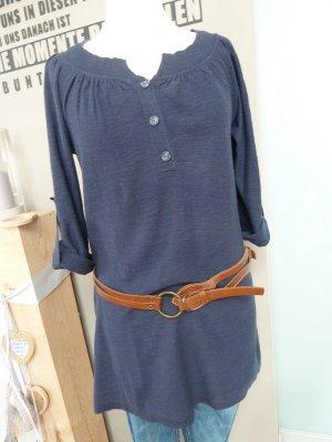 WE Fashion Longshirt Strickshirt Krempelärmel marine dunkelblau Gr. M 38