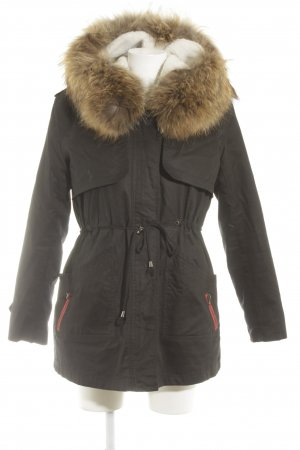 We Love Furs Winterjacke schwarzbraun-rot Casual-Look