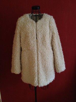 WE Mantel aus Fellimitat Plüschjacke weiß/beige