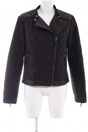 WE Steppjacke schwarz Steppmuster Biker-Look