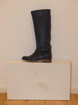 WEBB Damen Stiefel blau mit Lochmuster im Schaft Gr. 37