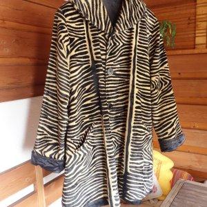 Webpelz, Fake Fur, Mantel, Longjacke, Swinger, A-Linie, ausgestellt, Wendemantel, zweiseitig, beide Seiten sehr schön, zwei in einem, Damen, Animalprint, hochwertiger Webpelz, glatt und leicht, beige schwarz, Tiger, Zebra, die zweite Seite ist schwarz in