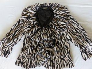 Veste en fourrure blanc-noir polyester