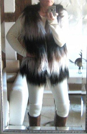 Webpelzweste Fellweste Fake Fur Tricolor onesize NEU