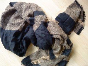 Charles Vögele Bufanda de lana azul oscuro-camel