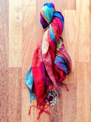 Écharpe à franges multicolore