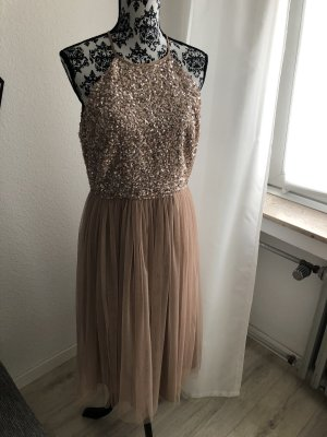 Asos Sequin Dress nude-oatmeal