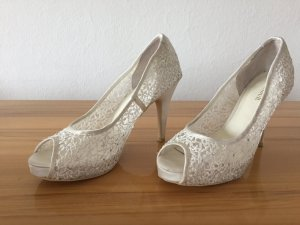 Wedding Shoes Menbur Gr. 39 weiße Spitze mit Glitzer - Peeptoe
