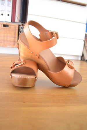 Massimo Dutti Platform High-Heeled Sandal light brown-sand brown leather