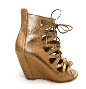 Wedge Sandalen zum Schnüren in gold aus Leder