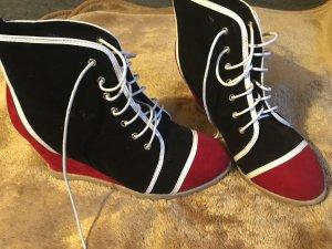 Wedge Sneaker schwarz-rot-weiß