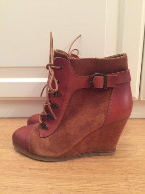 Wedges Boots Stiefel Stiefeletten Keilabsatz Braun