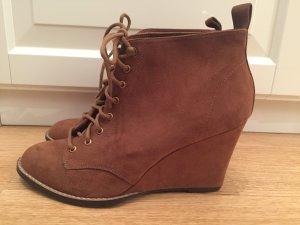 Wedges Boots Stiefel Stiefeletten Keilabsatz Braun Pull&Bear