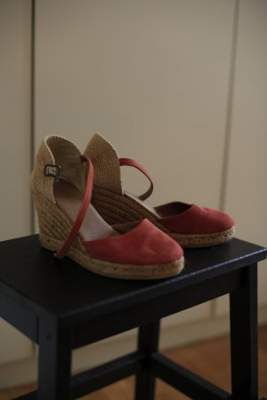Plateauzool sandalen roodbruin-camel Suede