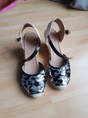Wedges Gr. 38 Stoff/ Pailletten