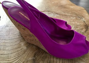 H&M Divided Wedge Sandals violet textile fiber