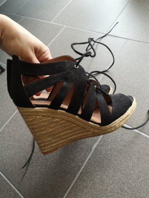 H&M Wedge Sandals black-oatmeal suede