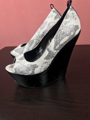 Wedges heels peeptoe Schlangen Muster