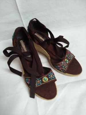 Buffalo Wedge Sandals dark brown