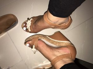 Wedge Sandals white-brown