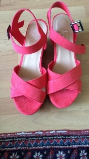 Wedges in pink mit Riemchen