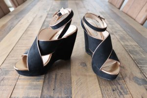 Wedges Keilabsatz schwarz gold Wildleder Look Gr. 38