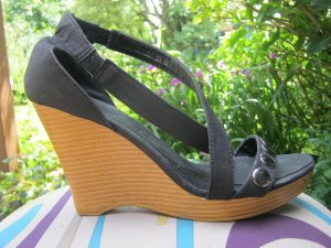 Wedge Sandals black-silver-colored leather