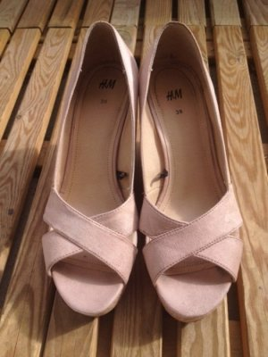 H&M Platform High-Heeled Sandal cream polyester