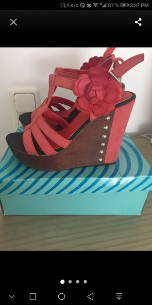 Wedge Sandals salmon-bright red
