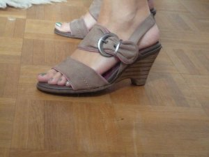 Wedges Sandalen, pink grau, große Schnalle