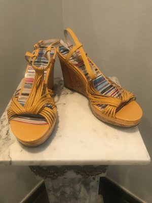 di Lauro Wedge Sandals yellow
