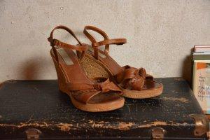 wedges - Sandaletten braun mit Keilabsatz in Korkoptik