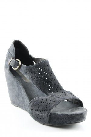 Wedge Sandals dark blue-gold-colored casual look
