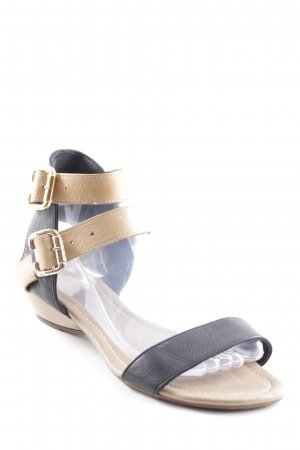 Wedge Sandals light brown-black color blocking casual look
