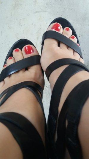 Wedges, Sandaletten, schwarz