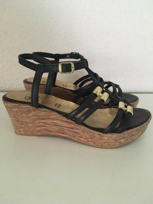 Wedges Sandaletten schwarz/gold