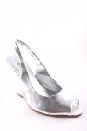 Wedge Sandals silver-colored elegant