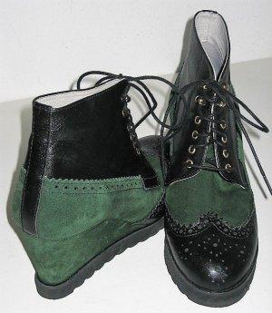Wedges Sneakers mit Keilabsatz zum Schnüren - Wildleder mit Leder Gr. 37