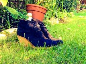 Wedges / Stiefletten / Stiefel / Chelsea / boots aus echtem Leder schwarz